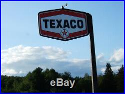 Original Side Mount Texaco Gas Station Porcelain Sign Tomahawk Pole Frame