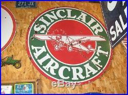 Original Sinclair Aircraft 48 Porcelain Sign