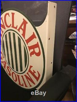 Original Sinclair Gasoline Porcelain Flange Sign