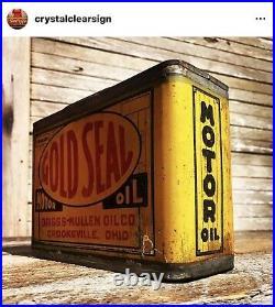 Original Teens 1920s 1/2 Gallon Motor Oil Can Service Station Race Car Sign