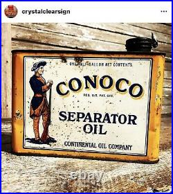 Original Teens 1920s Conoco 1/2 Gallon Oil Can Service Station Advertising Sign