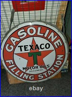 Original Texaco Filling Station Porcelain Gasolene Dealership Sign