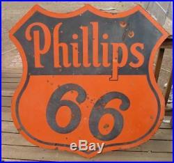 Original Vintage 1941 Phillips 66 Porcelain Sign 48 Oil & Gas Advertising Sign
