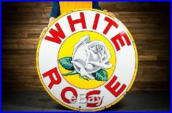 Original WHITE ROSE Gasoline Porcelain Sign 48