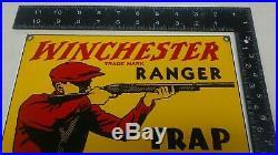 Original WINCHESTER RANGER TRAP LOAD SHELLS porcelain DEALER sign gun ammo