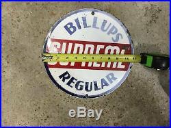 Original and AUthentic Billups Petroleum SS Porcelain Gas Pump Plate Sign