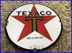 Original antique Texaco porcelain pump plate 8 SSP Porcelain Sign Black T