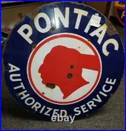 Pontiac authorized service original porcelain sign