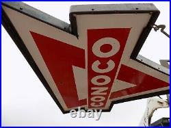 Porcelain CONOCO POLE SIGN WITH POLE GAS STATION SERVICE STATION OIL ORIGINAL