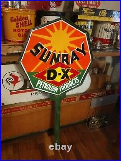 Porcelain Die Cut Sunray Mid-Continent DX Oil Company Oil Well Lease Sign