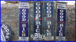 Porcelain Goodrich Vertical 4 Signs As Set Tires Batteries Easy Terms Good Rich