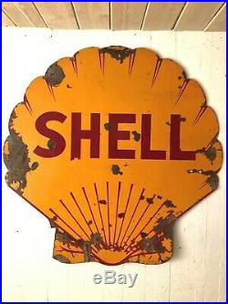Porcelain Shell Oil & Gas 48 Original Shell Shaped Double Sided Sign