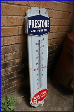 Prestone Anti Freeze 36 Gas Oil Porcelain Metal Thermometer Vintage 1940's