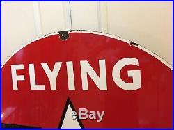 RAREST SIGN KNOWN 60 Porcelain Flying A Service Sign Black Wings Tydol Veedol