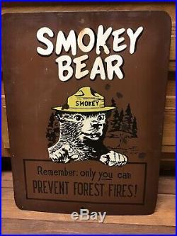 RARE 1940s Vintage Smokey the Bear ORIGINAL Porcelain Sign GAS OIL COLA Fire