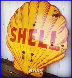 RARE! 48 Inch Tiger Stripe Porcelain Shell Sign Gas Oil