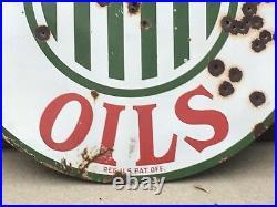 RARE ORIGINAL Vintage 1920's SINCLAIR OILS 48 PORCELAIN Sign Gas Oil Station