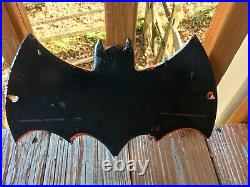 RARE VINTAGE PORCELAIN 1966 IDEAL BATMAN TOYS ARE HERE DISPLAY SIGN Toy Store DC