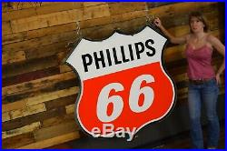 REAL PHILLIPS 66 MINTY Porcelain Sign 2 sided in RING Gas Oil Station Will Ship