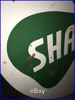 RareVintage Shamrock Oil And Gas sign porcelain double sided 1950s 6 footer Nice
