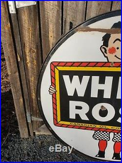 Rare 48in White Rose Gasoline Porcelain Sign. Double Sided. Canadian