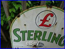 Rare Antique Sterling Motor Oil 2 Side Porcelain Tombstone Advertising Sign