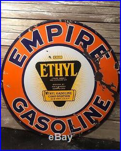 Rare Early Empire Gasoline Ethyl 30 Porcelain Sign Oil Gas