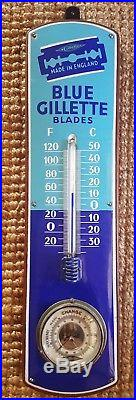Rare Gillette Circa 1930s Porcelain On Steel Thermometer Hygrometer