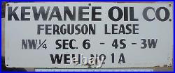 Rare Kewanee Oil Co. Porcelain Oil Well Gas Oilfield Lease Sign