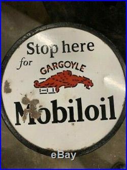 Rare MOBILOIL GARGOYLE PORCELAIN DOUBLE SIDED CURB SIGN