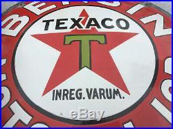 Rare Nice Texaco Bensin Enamel Porcelain Sign 1930 Original Gas station Sweden