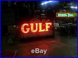 Rare Original 8ft Gulf Gas Oil Porcelain Neon Sign