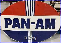 Rare Pan Am Porcelain Gas Oil Sign Like Standard American Amoco Pole Sign Pan-am