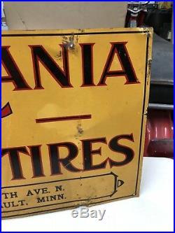 Rare Vacuum Cup Tires Tin Not Porcelain Original Sign 36 X 12 Oilproof 1908-14