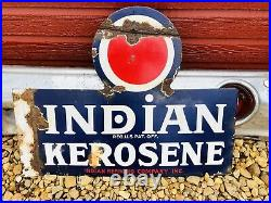 Rare Vintage Original indian Kerosene Porcelain Enamel Double Sided Flange Sign