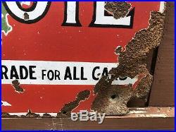 Rare Vtg 20s OAK MOTOR OIL Double Sided Porcelain Sign 26x16.75 Frontier Co NY
