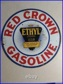 Red Crown Gasoline 2 Sided Porcelain Sign. Ingram-Richardson Beaver Falls, Pa