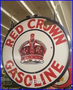 Red crown gasoline porcelain sign standard vintage Collectable gas oil