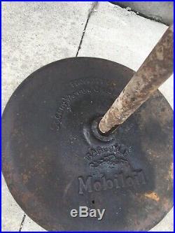 Scarce Mobil Oil Gargoyle Porcelain Double-Sided Lollipop Sign with Base Wadhams