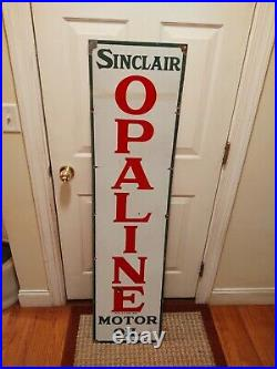 Sinclair Opaline Motor Oil Original Porcelain Sign 60