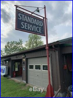 Standard Oil Service Porcelain Pole Sign With Original Pole Lights Gas Station