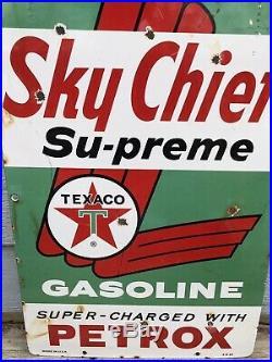 TEXACO SKY CHIEF PUMP PLATE PORCELAIN SKYCHIEF GAS OIL 18x12