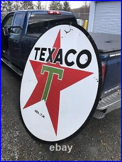 Texaco Porcelain Sign 6ft Double Sided RARE Antique 1958