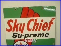 Texaco Vintage Sky Chief Supreme Petrox Pump Sign Porcelain 1959 Beautiful