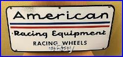 Ultra Rare 1960s American Racing Equipment Racing Wheels Porcelain Dealer Sign