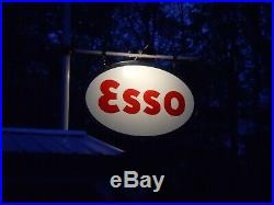 VINTAGE 1963 5' x 7' Double-Sided Porcelain ESSO Gas/Service Station Sign w Ring