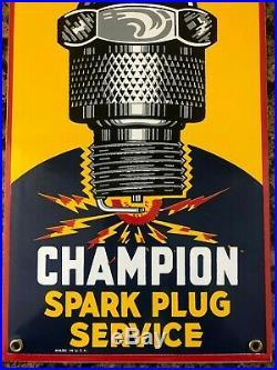 VINTAGE CHAMPION SPARK PLUG SERVICE PORCELAIN SIGN 18 x 8