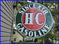 VINTAGE ORIGINAL LARGE 1930s SINCLAIR HC GASOLINE PORCELAIN SIGN
