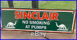 VINTAGE ORIGINAL SINCLAIR NO SMOKING porcelain sign DINO gasoline gas pump plate