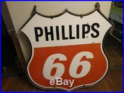 VINTAGE PHILLIPS 66 TWO SIDED 4' PORCELAIN SIGN, WithORIGINAL BRACKET